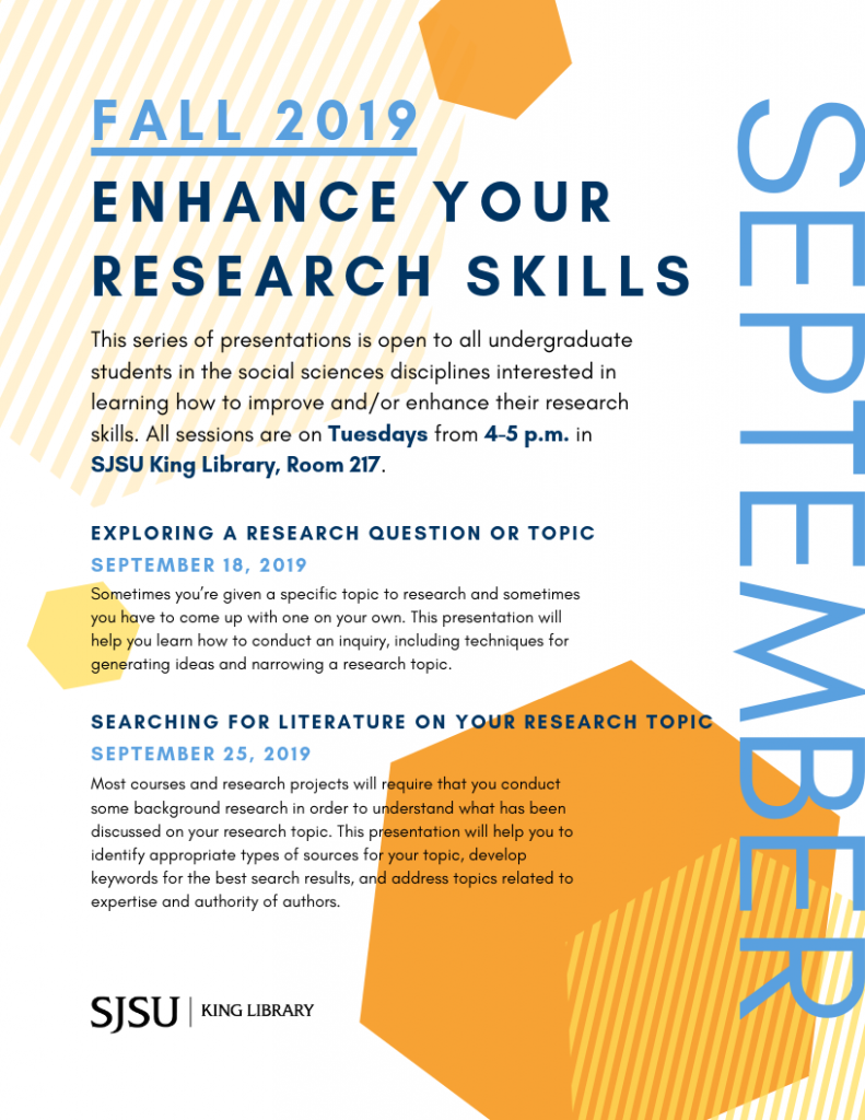 Fall 2019 Enhance Your Research Skills