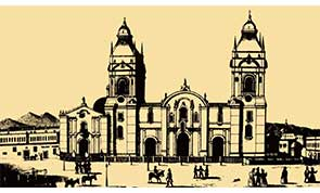 Sketch of the Cathedral of Lima in Peru.