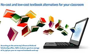 Image of a laptop with colorful books flying out of it.