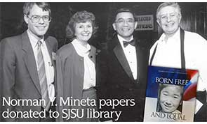An archival photo of local leaders Ken Yeager, Susanne Wilson, Norman Mineta, and Wiggsy Sivertsen.