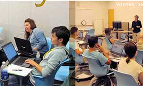 Students and instructor in a library classroom.