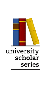 University Scholar Series Logo; image of three books.