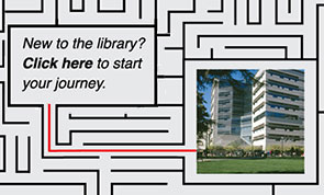 Image of a maze. New to the Library? Click here to get started in the library.